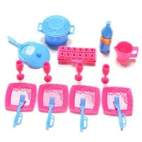 18 Pcs/set Kitchen Tableware Accessories for Barbies Mini Cup Cutlery Pot