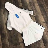 Adidas Summer fashion new stripe print hooded gauze women and men short sleeve top t-shirt and shorts two piece suit White