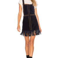 Understated Leather Hold Your Horses Pinafore Dress in Black   REVOLVE