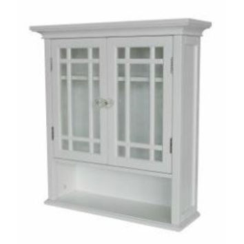 White Bathroom Wall Cabinet Cupboard with Cubby and Shelves