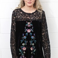 Lace Sleeve + Embroidered Crushed Velvet Blouse {Black}
