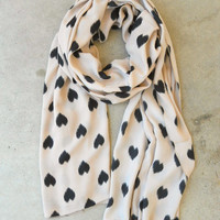 Sketched Hearts Scarf in Taupe [3325] - $21.00 : Vintage Inspired Clothing & Affordable Fall Frocks, deloom | Modern. Vintage. Crafted.