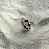 Modern sterling silver ring, organic design with beautiful orange accent stone, high polished shine