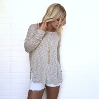 Picture Perfect Crochet & Knit Top In Oatmeal
