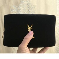 YSL foreign trade black plush grey cloth makeup bag portable receiver with cosmetic bag