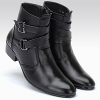 Mens Trendy Strap Buckle Casual Boots