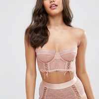ASOS FAYE Satin & Lace Up Underwire Bustier Bra