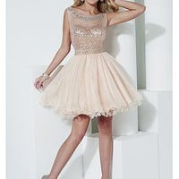 Buy discount Marvelous Tulle & Sequins Lace & Chiffon Bateau Neckline A-line Homecoming Dresses With Beadings at Dressilyme.com