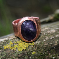 purple amethyst, gemstone ring, copper, brass, adjustable, statement, rustical ring, cocktail, gift for her or him, unique idea, winter time