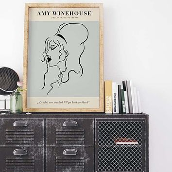 Home Decor Wall Art Amy Winehouse Canvas Singer Star Painting Print Simple Posters Modular Nordic Picture For Bedroom Framework|Painting & Calligraphy