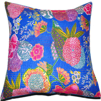 24x24 Blue kantha Pillow Cover, kantha Throw Pillow, Decorative kantha Pillow, Indian Pillow, Pillowcase, Indian Cushion Cover, Large Pillow