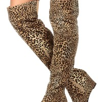 Leopard Faux Suede Over the Knee Wedge Boots
