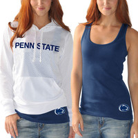 West Penn State Nittany Lions G-III Sports by Carl Banks Women's Kick Off Hooded Tee and Tank Top - White