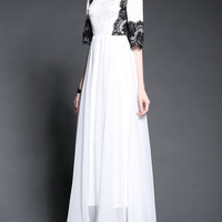 White Half Sleeve Lace Accent High Waist A-Line Pleated Maxi Dress