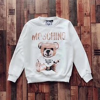 '' Moschino '' bear print long sleeve White sweater top H-spring