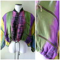 Cropped Tie Dye 90s Jacket Drawstring Waist Hippie Boho One Size Grunge Bomber Coat Batwing Vintage 1990s Revival Hipster Long Sleeve Top