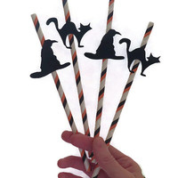 Halloween Party Supplies - Witch Hat and Black Cat Straws - 12 Pieces
