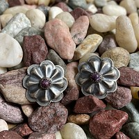 Concho Purple Spiny Oyster Stud Genuine Earrings