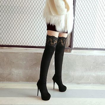 Slim Lace Platform Over the Knee Boots Stiletto Heel 3346