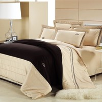 100% cotton beige embroidery bedding set cotton duvet cover queen king flat sheet pillowcase /bed linen/luxury quilt cover sets