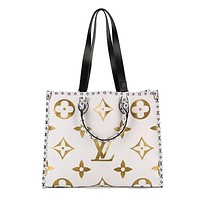 LV fashion casual lady shopping bag hot seller with printed patchwork shoulder bag White