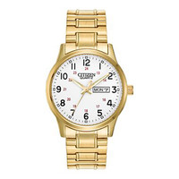 Citizen BF0612-95A Men's Easy Reader White Dial Gold Tone Steel Expansion Bracelet Watch