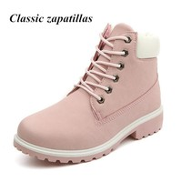 New 2017 Autumn Early Winter Shoes Women Flat Heel Martin Boots Fashion Women's Boots Brand Woman Shoes Ankle Botas Hand Outsole