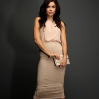 Taupe Pleated Neck Tank Top