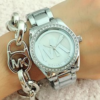 "Hot Sale MK ""Michael Kors"" Unisex Big Logo Diamond Movement Watch Wristwatch Silver N-Fushida-8899"