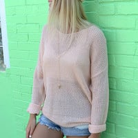Chilly Beach Nights Pale Pink Lightweight Summer Sweater