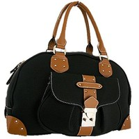 Nice Fashion Satchel Bag Purse w/ Decorative Front Flap Lock Black