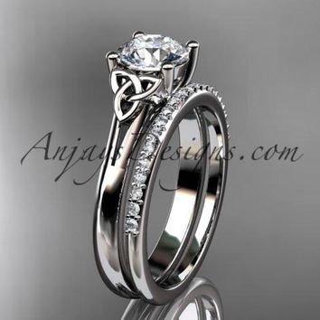 """platinum diamond celtic trinity knot wedding ring, engagement set with a """"Forever One"""" Moissanite center stone CT7154S"""