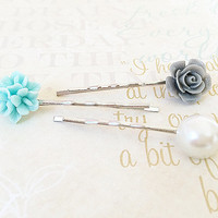 Flower Bobby Pins - Silver Bobby Pins - Gray Rose Floral Hair Accessory - Mint Blue Flower - Pearl Bobby Pin - Curved Bobby Pins - Set of 3