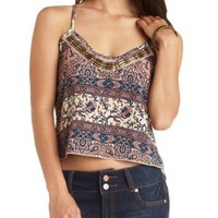 Strappy Beaded Paisley Print Crop Top - Ivory Combo