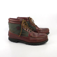 Hiking Moccasin Boots Vintage 1980s Timberland Water Moccasin Leather Boots men's size 12