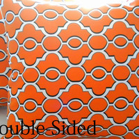 Orange Ogee pillow cover  18 x 18 Double Sided