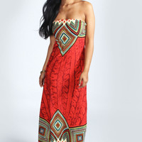 Faye Bandeau Multi Print Maxi Dress