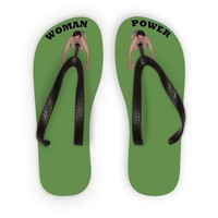 Woman Power Fabric Top Sandals (Black Lettering) Flip Flops
