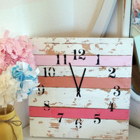 Shabby chic pink clock girls room cottage style home decor aged rustic bedroom wall hanging shower  birthday christmas gift