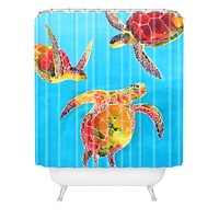 Clara Nilles Tie Dye Sea Turtles Shower Curtain