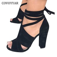 COVOYYAR Ankle Strap Gladiator Sandals Women 2018 New Summer Peep Toe Cut Out Lady High Heels Cross Tied Women Shoes WSS965