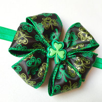 St Patrick's Day Wired Clover Bow Your choice of Hair Clip, Elastic Headband