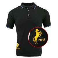 2018NEW Solid Mans Polo shirts men Black Male Short Sleeve Golden horse Embroidery Stripe collar 3colors Poloshirts  PL017