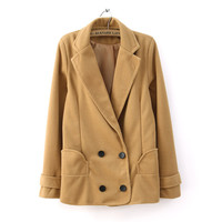 Winter Slim Tight Warm Woolen Double Breasted Coat 3 Colors