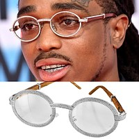 Mens 3 Row Bling Round Silver Tone Wooden Frame Glasses