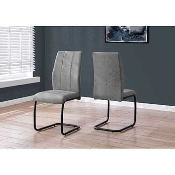 """Two 77.5"""" Fabric, Black Metal, and Polyester Dining Chairs"""