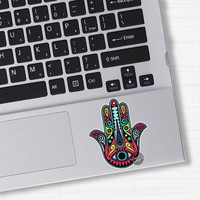 Small Teal Hamsa Hand Sticker Colorful Laptop Decal Religious Amulet Wall Art Car Sticker Religion Yoga Happiness Luck Eye Symbol Hippie