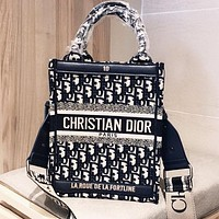 DIOR Retro Hot Sale Women Shopping Bag Canvas Handbag Tote Crossbody Satchel Shoulder Bag