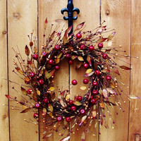 LARGE Fall Wreath-Fall Door Wreath-Rustic CRABAPPLE BERRY Leaf Door Wreath-Front Door Wreath-Rustic Home Decor-Fall Decor-Primitives Country