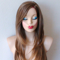 Toffee brown / auburn color hair layer cut skin color scalp with long side bangs  High quality Heat resistant  wig.